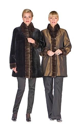 Sheared Mink Jacket - Madison Avenue Mall Sable Trim Sheared Mink Jacket For Women Real Reversible 10
