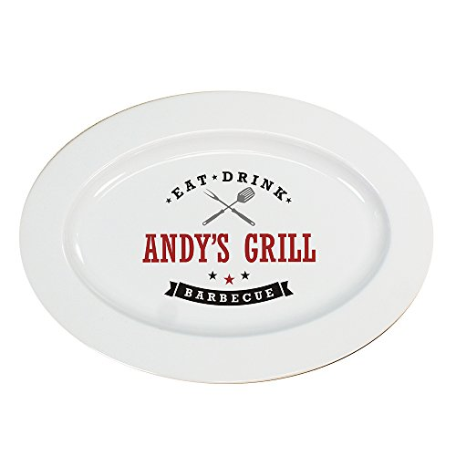 GiftsForYouNow Eat, Drink, Barbecue Personalized Platter, Utensil - Plate Ceramic Personalized