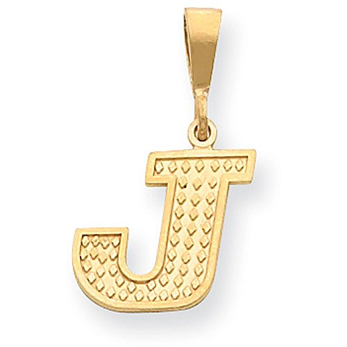 Initial 14k Yellow Gold Pendant - 14k Yellow Gold Textured Initial Pendant - Letter J