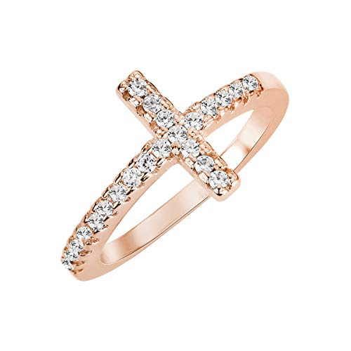 CloseoutWarehouse Cubic Zirconia Christian Sideway Cross Ring Sterling Silver Rose Gold-Tone Plated Size 8