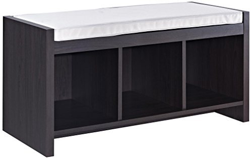 Ameriwood Home Penelope Entryway Storage Bench with Cushion, Espresso (Bed End Storage)