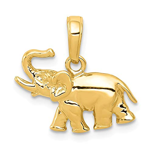 Solid 14k Yellow Gold Polished Elephant Charm Pendant (13mm Height x 17mm Width) ()