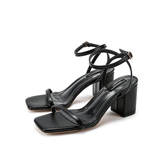 Zapatos con Espeso Sandals EU34 Ranurada Delgada Heeled Aire Hebilla Balcón SHOESHAOGE Eu34 Correa Corbata Y High Mujer con De De 6w1ZxYqv