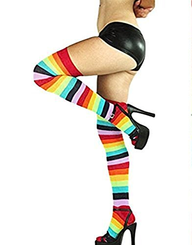Oksale® Women Rainbow Winter Warm Cable Long Boot Socks Over Knee Thigh High Stockings (Junior High Costumes)