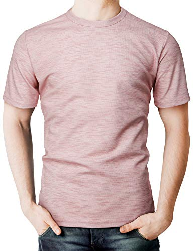 H2H Mens Casual Premium Slim Fit T-Shirts Crew-Neck Short Sleeve Cotton Blended Pink US L/Asia XL (KMTTS574) ()
