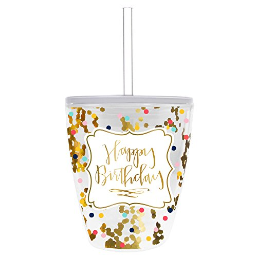 Slant Collections 10 Oz Double Walled Double Old Fashion Confetti with Lid and Straw - Happy ()