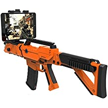 QKIFLY VR Wireless Game Gun GamePad Shooting Controller Joystick TPS FPS with Motor Vibration for 4 to 6 inch Smartphone iPhone Samsung Tablet Ipad ISO / Android (Orange)