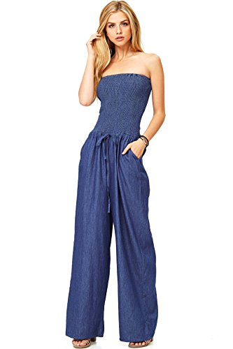 Top Tube Denim (Hendi Women's Juniors Denim Tube Top Wide Leg Jumper (S, Denim))