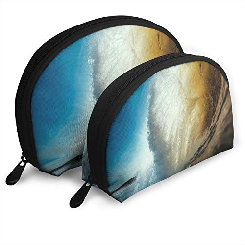 Fleavmei Ocean Sea Wave Seascape 2 Pcs Shell Makeup Storage Cosmetic Bags Travel Waterproof Toiletry Organizer For Women