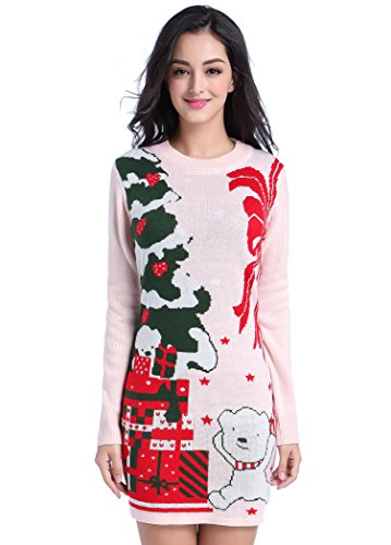 Women Christmas Sweater, V28 Ugly Cowl Neck Cute Reindeer Xmas Sweater Dress (M, Bear Dress Pink) Image