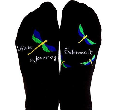Toe TalkLife Is A Journey - Embrace It Non Slip Grip Socks, Ideal for Pilates, Yoga, Barre, Tai Chi, Dance, Meditation, Mindful Living