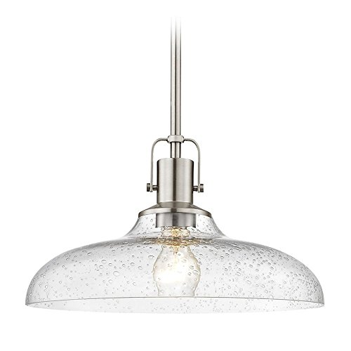 Satin Nickel Pendant Light Seeded Glass 14-Inch Wide