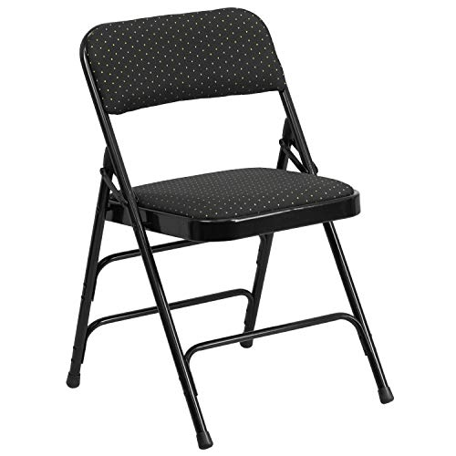 (Flash Furniture HERCULES Series Curved Triple Braced & Double Hinged Black Patterned Fabric Metal Folding Chair)