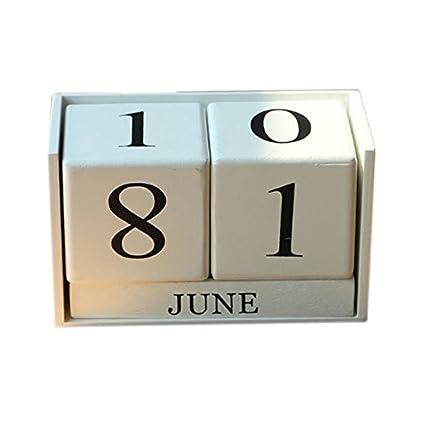 Cobeky Calendario de escritorio perpetuo de madera vintage ...
