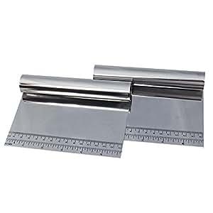 HOMEKE Pastry Scraper and Cutter Stainless Steel - Pizza Dough Cutter and Chopper - Multipurpose Bench Scraper (1)
