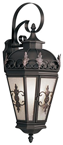 Livex Lighting 2196-07 Outdoor Wall Lantern with Antique Honey Linen Glass Shades, Bronze