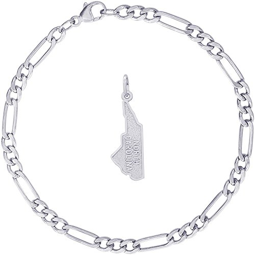 - Rembrandt Charms Sterling Silver North Carolina Charm on a Classic Figaro Bracelet, 7
