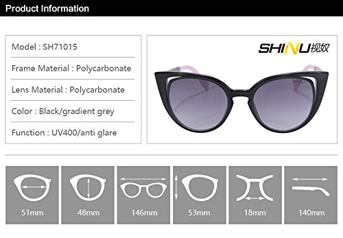 Eyewear Gradient Rond Cadre Black De Chat Uv400 Shinu Retro Les Protection Grey Lunettes Soleil sh71015 Femmes Gloss Pour a7wz8w