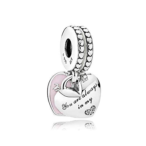 Romántico Amor Family Charms Mother Daughter Hearts Silver Pink Enamel Bead fit Pandora Bracelets (mother&daughter)