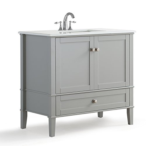 Simpli Home Chelsea 36 inch Bath Vanity with White Quartz Marble Top, Grey