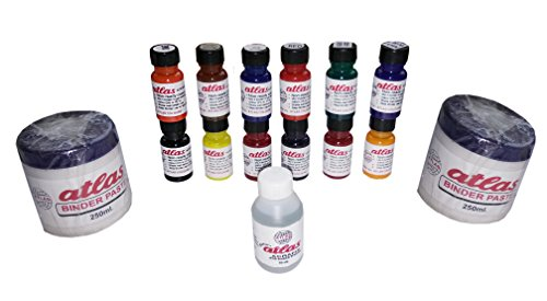 Atlas 12 Colours, 2 Binders and 1 Fixer Acrymane Pigment Dyes for Block Colour, Screen and Spray Printing