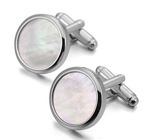 Covink Men's Rhodium Plated Mother of Pearl Abalone Shell Cufflinks Round Studs Tuxedo with Gift Bag