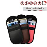 3 Pack Signal Blocking Bag, Keyless Entry Fob Guard Signal Blocking Pouch Bag, Antitheft Lock Devices, Healthy Cell Phone Privacy Protection Security WiFi/GSM/LTE/NFC/RF Blocker (Black+Brown+Pink)