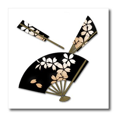 3dRose ht_54383_3 Japanese Fans with Flower Decorations-Iron on Heat Transfer Paper for White Material, 10 by 10-Inch