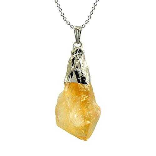 "Paialco Natural Yellow Citrine Rough Rock Pendant Necklace 18"" -Silver"
