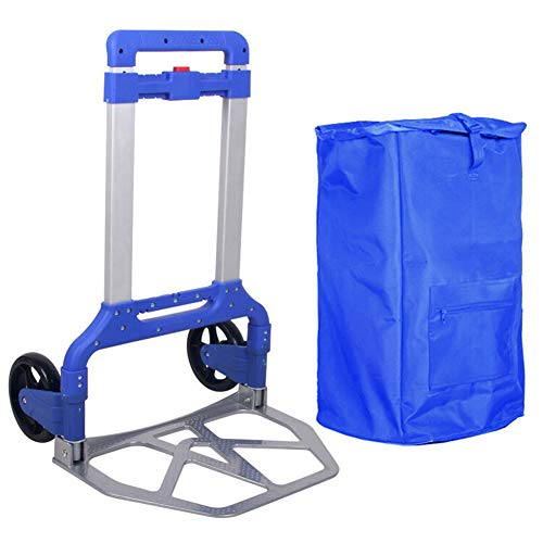 Sack Truck Compact - Shopping Cart Trolley Portable Folding Shopping Trolley Hand Sack Truck Barrow Cart Heavy Duty Aluminium, Foldable Industrial Warehouse for Indoors Outdoors (Color : Blue)