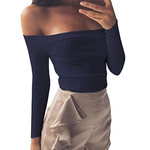 Gobought Womens Slim Off Shoulder Long Sleeve Rib-Knit Crop Pullover Tops (S, Blue) (Pullover Rib Knit)