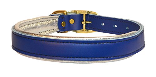 Perri's DC101 Metallic Padded Leather Dog Collar, Large, Blue/Silver