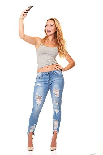 V.I.P. JEANS Ripped and Distressed Frayed Hem Skinny Stretch Jeans Plus Size 16 / Light Blue by V.I.P. JEANS (Image #7)