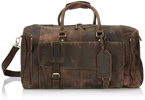 Leather Travel Luggage Bag, Mens Duffle Retro Carry on Handbag