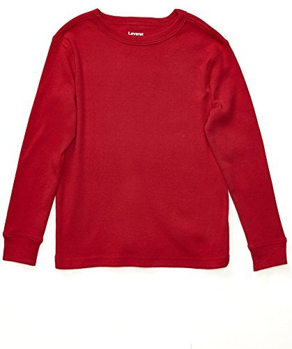 Leveret Long Sleeve Solid T-Shirt 100% Cotton (8 Years, Red) ()