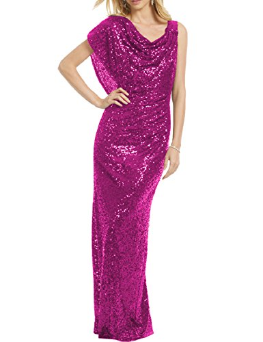 YSMei Women's Long Mermaid Evening Party Dress Sequined Prom Bridesmaid Gowns Fuchsia 22W ()
