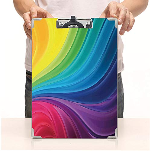 Custom Printing Clipboard,Hardboard Clipboard Pack,Smooth Rainbow Curvy Lines Pattern Spiral Wavy Light,Office School Workers Business use -