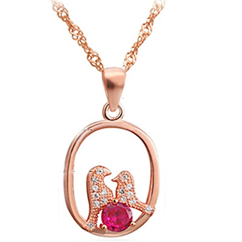 Epinki Women Girls 925 Sterling Silver Necklace Crystal Bird Mom and Child Love Symbol Rose Gold