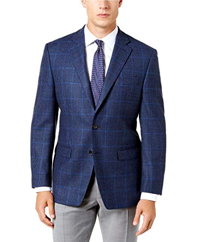 New $350 Ralph Lauren Navy Brown Plaid Flannel Wool ULTRAFLEX Blazer Size 40L