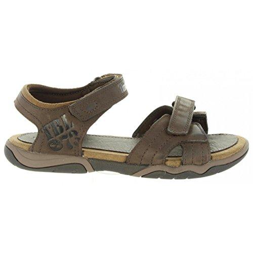 Timberland Boys Sandals - Timberland Boy's Oak Bluffs Leather 2-Strap Sandal Grade School Dark Brown 4 M