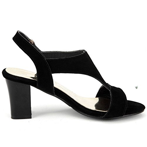 High Sandals Backstrap Heels Ladies Black Shoes Classics LongFengMa Block EcUZSpEq