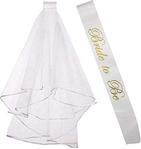 Bachelorette Party Veil | Bridal Shower Veil | Bride to Be Gift Bride to be Sash, Bachelorette Veil Set of two Fun Bachelorette Party Decorations & Beautiful Bridal Shower Gift for Bride