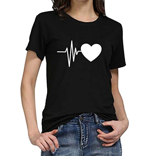 XVSSAA Women's ECG Printed Short Sleeve T-Shirt, Ladies Solid Color Round Neck Casual Joker Blouse Top