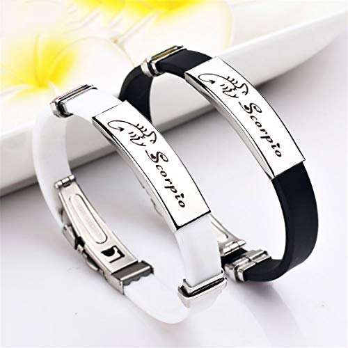 - 12 Constellations Stainless Steel Bracelets Men Rubber Charm Casual Personality Bracelets Bangles Jewelry Black Cancer