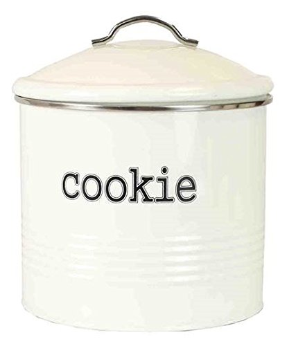 - Home Basics Tin Kitchen Food Storage Organization Canister Collection (Cookie Jar with Cover, Ivory)