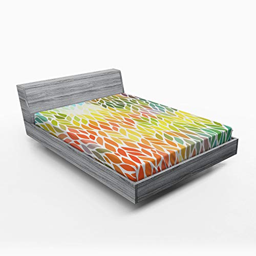 Ambesonne Leaves Fitted Sheet, Funky Floral Pattern in The Colors of All Seasons Refreshing Environment Ecology, Soft Decorative Fabric Bedding All-Round Elastic Pocket, Queen Size, Yellow Orange ()