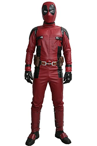 Custom Anime Cosplay Costumes (DP Wade Wilson Costume Updated Cosplay Full Suit Face Mask Belt Custom Made Xcoser 2XL)