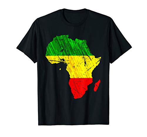 (Africa Map Reggae Rasta TShirt Green Yellow Red Africa pride )