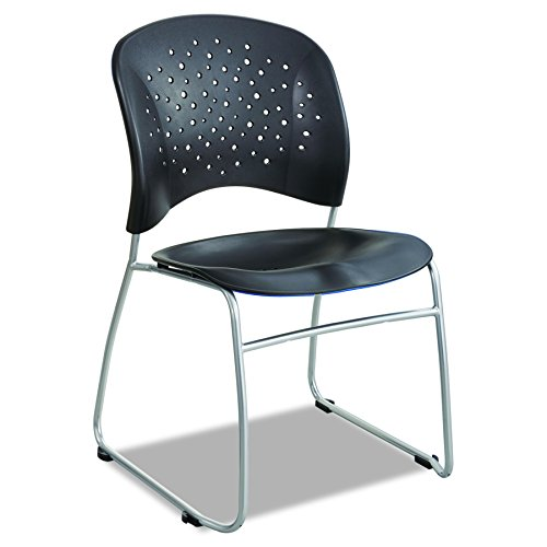 Safco Products 6804BL Reve Guest Chair Sled Base with Round Back, Black