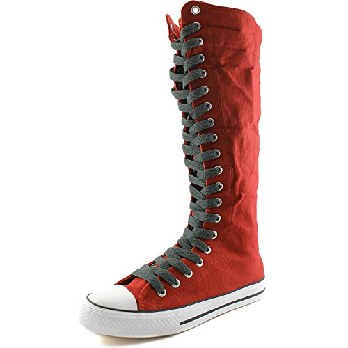 Flat Boots Mid Olive Red Punk Tall Casual Green Womens DailyShoes Calf Lace Boots Canvas Sneaker 4FfzEnX